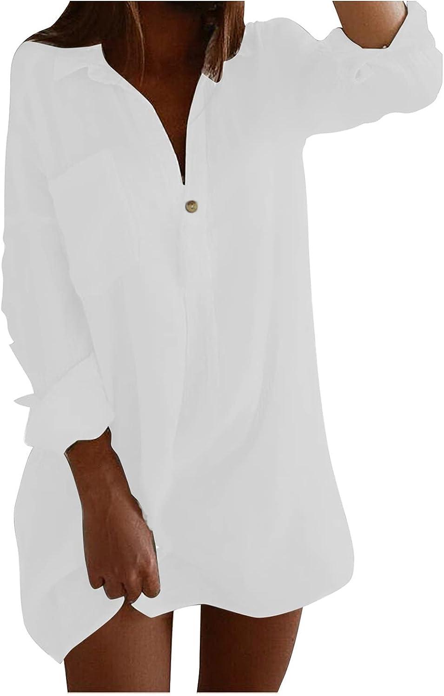 ManxiVoo Women's Roll-up Long Sleeve Shirt Lapel Collar Button V Neck Pollover Shirts Top Blouse with Pocket