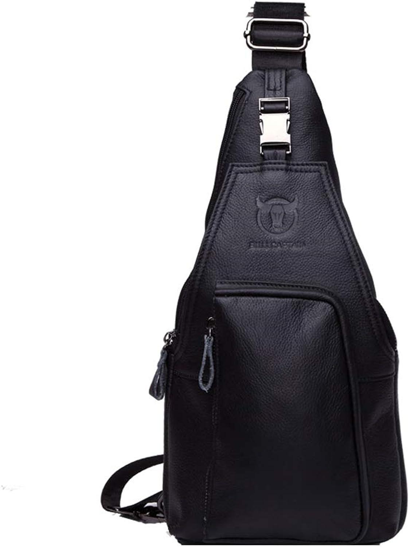 XxyA Chest Bag for Men, Genuine Leather Sling Chest Daypack Trendy MultiFunction Messenger Bag Crossbody Shoulder Bags,Black