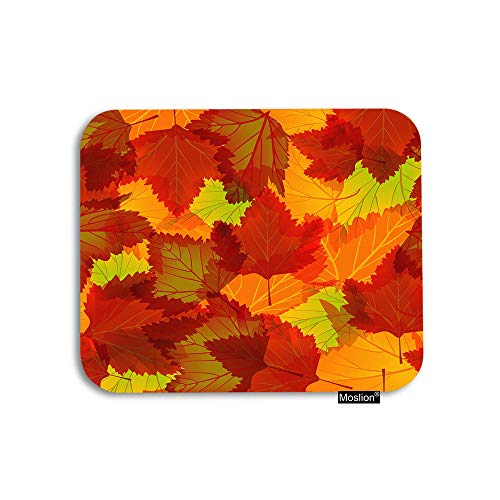 Moslion Fall Mouse Pad Leaf Autumn Maple Tree Falling Leaves Gaming Mouse Pad Rubber Large Mousepad for Computer Desk Laptop Office Work 7.9x9.5 Inch Orange