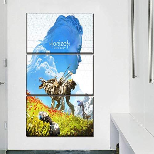 HD Leinwandmalerei Leinwand drucken Bild Wandkunst 3 Pcs Spiel Horizon Zero Dawn Aloy und Mädchen Gemälde Home Decor Modul Poster Wohnzimmer -40CM*60cm*3