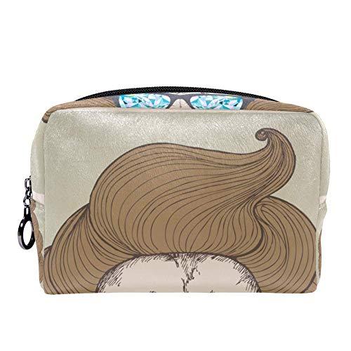 TIZORAX chique kapsel met bril leeuw portret make-up tas toilettas voor vrouwen huidverzorging cosmetische handige zak rits handtas