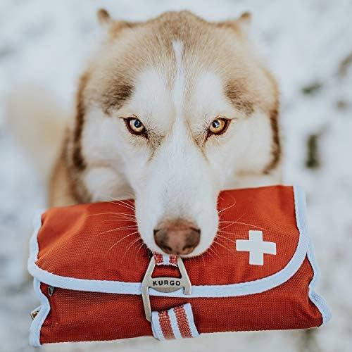 Kurgo - Trousse de secours pour chien. Kit de 1er soin pour animaux contenant 50 pièces. Taille unique, légère et pratique, lavable machine, boucle ouvre-bouteille ou accroche, couleur Paprika