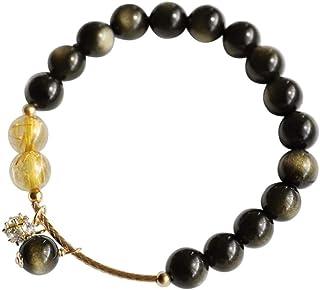 LWQQY Double gold eye ochre citrine bracelet female natural crystal obsidian transfer lucky bracelet
