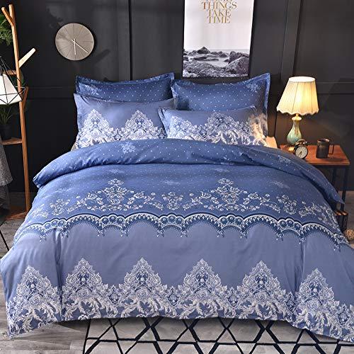 Nicole - Juego de ropa de cama de microfibra, diseño de encaje ligero, azul, 210x210+50x70cm*2