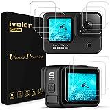 ivoler 9 Unidades Protector de Pantalla para GoPro Hero 10 Black/GoPro Hero 9 Black, 3X Cristal Templado para LCD Pantalla, 3X Vidrio Templado para Lente, 3X Cristal Templado para Pequeña Pantalla