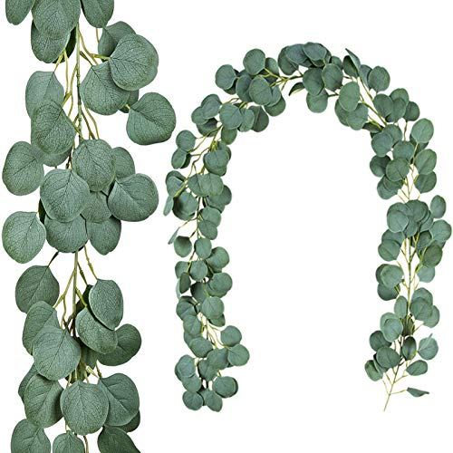 TOPHOUSE 2 Pack Artificial Eucalyptus Garland, 6.5ft Silver Dollar Leaves Fake Greenery Vines for Wedding Backdrop Arch Table Runner Wall Decor, Grey Green