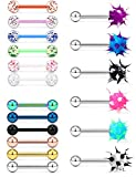 Hoeudjo 18Pcs 14G Tongue Rings Surgical Steel Soft Silicone Nipple Straight Barbells Bar Piercing Jewelry for Women Men 16mm (5/8 Inch) Silver-Tone Rose Gold Black