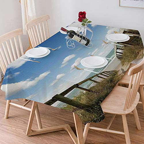 Tablecloth Rectangle Cotton Linen,Beach,Sandy Path Leads to Ocean Pacific Puffy Clouds Vacation Seren,Waterproof Stain-Resistant Tablecloths Washable Table Cover for Kitchen Dinning Party (140x200 cm)