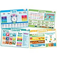 merka Kids' Educational Placemats – Reusable, Non-Slip, Silicone Plastic Mats for The Dining Table – A Learning Tool for Toddlers & Preschoolers – Set of 4 Mats: Time, Money, Calendar, Seasons