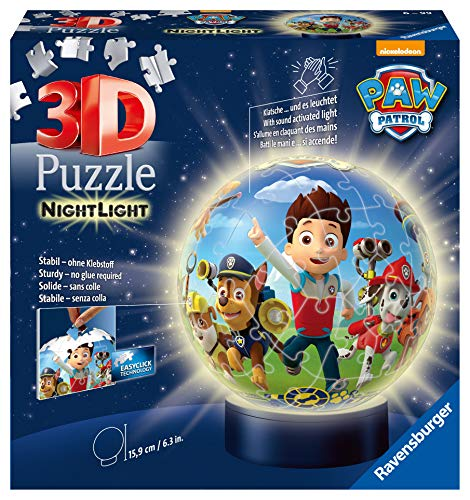 Ravensburger 3D Puzzle Nachtlicht Paw Patrol - Puzzleball für Kinder ab 6 Jahren, LED Nachttischlampe mit Klatsch-Mechanismus, Schlummerlicht