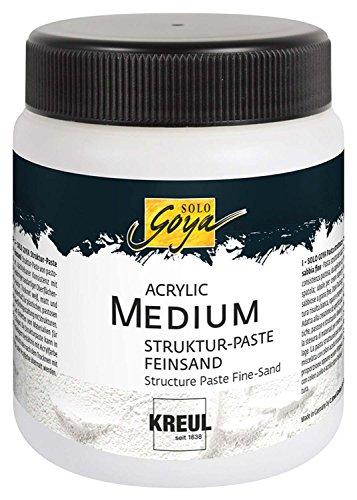 Kreul 85805 - Solo Goya Acrylic Medium, 250 ml Dose, weiß, Strukturpaste Feinsand, pastose Spachtelmasse, mit feinkörniger sandartiger Oberflächenstruktur, einfärb- und übermalbar