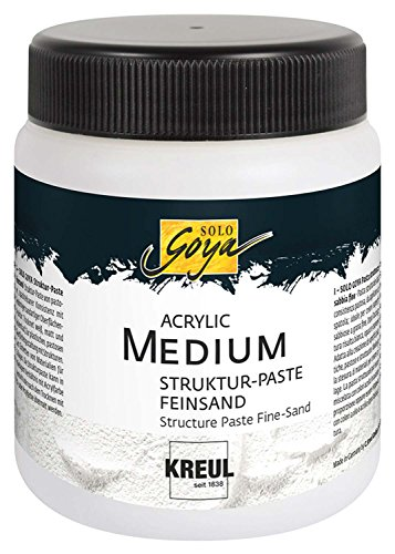 Kreul 85805 - Solo Goya Acrylic Medium, Strukturpaste Feinsand, pastose Spachtelmasse, mit feinkörniger sandartiger Oberflächenstruktur, einfärb- und übermalbar, 250 ml Dose, weiß