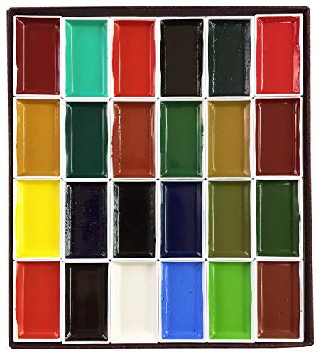Nihonga Sumi-e Watercolor Paint Pan Set, 24 colors by Kissho