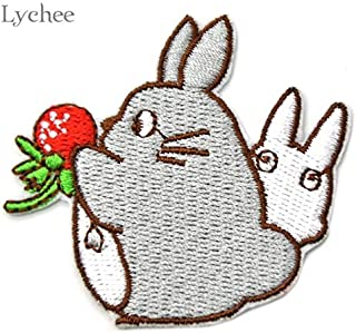 Momoso_Store 02 styles of My Neighbor Totoro Embroidered Iron On Patch DIY Embroidery Handmade Crochet Sew On Patch Clothes Appliques, 02pcs