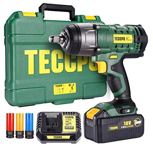 Pistola de impacto, TECCPO 350Nm Llave de Impacto con 4,0 Ah batería, 3pcs Vasos de Impacto Profundo 17, 19, 21 mm, Tornillos Ruedas Coche, Mandril de 13 mm, Caja Compacta-TDIW01P