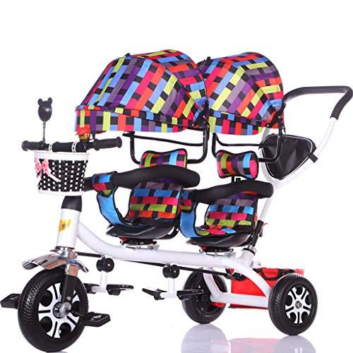 Jiji kinderwagen kinderwagen kinderen dubbele driewieler Twin Baby fiets licht trolley grote kinderwagen verlengde luifel opbergmand buggys