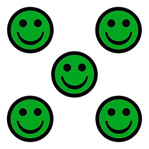 5 Verdes Smiley Imanes - Diámetro 2,5 cm - Para pizarras blancas y refrigeradores