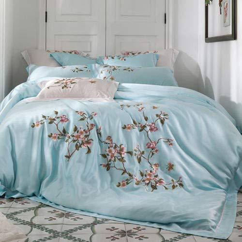 RONGXIE Beddengoed Set king size Soft tencel Bed Linnen Dekbedovertrek Kussenslopen Bed Sheet Sets Blad borduurwerk Queen Coverlets