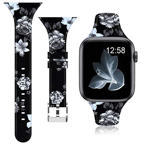 of disney watch bands dec 2021 theres one clear winner AMSKY Silicone Sports Bands Compatible with Apple Watch Bands 38mm 40mm 42mm 44mm Women Men Floral Thin Slim Narrow Band Strap Wristbands for iWatch SE Series 3 Series 5 Series 6 Series 4 Series 2