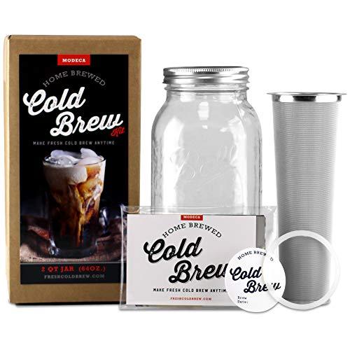 Image of Premium Cold Brew Coffee Maker, Pitcher, Stainless Filter, Diy Tea Brewer & Recipes Kit 1 Quart (32oz) Kit: Bestviewsreviews