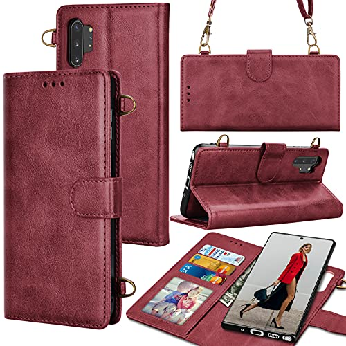 Galaxy Note 10 Plus Wallet Case, Tekcoo Crossbody Shoulder Carrying Purse Cover RFID Blocking Card Slots Holder Flip PU Leather [Detachable Magnetic Case] for Samsung Galaxy Note10 Plus [Wine Red]