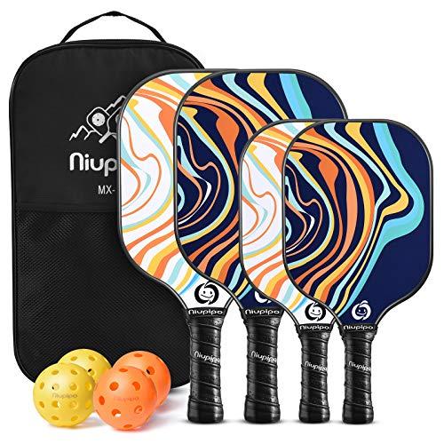 niupipo Pickleball Paddles, Parent - Child Pickleball Set, Pickleball Paddles 4 Pack, 4 Balls, 1 Pickleball Bag, Fiberglass Surface, Polypropylene Honeycomb Core, Lightweight Pickleball Paddle