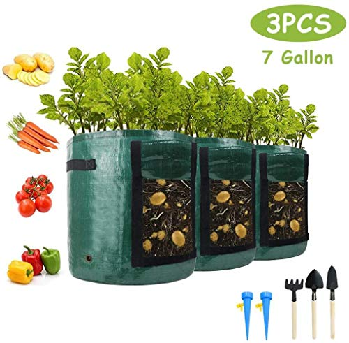 FIF Potato Grow Bags, 3-Pack 7 Gallons Garden Plant Grow Bags with Handles & Access Flap for Vegetables, Fruits, Onion, Carrot, Home Grow Bag, Potatoes-Growing-Containers + 5 Tools,Green