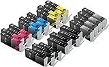 24 Pack Sherman Ink Cartridges for Printers PIXMA MX922, PIXMA MG5420, PIXMA MG6320, PIXMA MG7120, PIXMA MG5520, PIXMA iP7220 CLI-251 BK/C M Y GY Color/Black/Grey PGI-250BK 250 Inkjet Cartridge Gray
