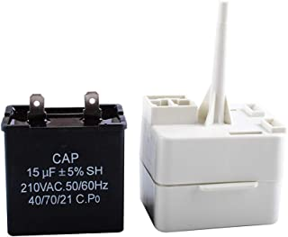 Podoy W10613606 Refrigerator Compressor Start Relay with Capacitor 67005560 Compatible with Whirlpool Maytag KitchenAid Kenmore Replaces W10416065 PS8746522 67003186