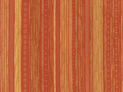 RaumTraum Landhaus Möbelstoff Kitzbühel Farbe 18 (Terra, gelb, braun) - modernes Chenille-Flachgewebe (Gemustert, gestreift) Polsterstoff, Stoff, Bezugsstoff, Eckbank, Couch, Sessel, Hussen, Kissen