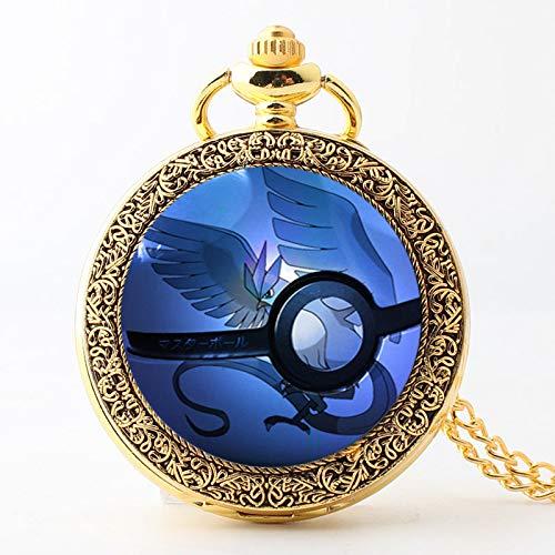 LIJIA Reloj Pokemon Clásico Pokemon Frozen Bird Hombres y Mujeres Regalo Reloj de Bolsillo de Cuarzo Grande Collar Reloj de Bolsillo para Estudiantes