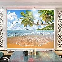 3D壁壁画 カスタム壁画 シースケープ ランドスケープ リビングルームテレビソファ背景防水ステッカ-120x100cm/47x39inch