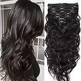 Extensions Cheveux Naturel a Clip Maxi Volume Ondulé - Remy Human Hair Double Weft 8 Pcs Extensions (#1B Noir naturel, 45cm-140g)