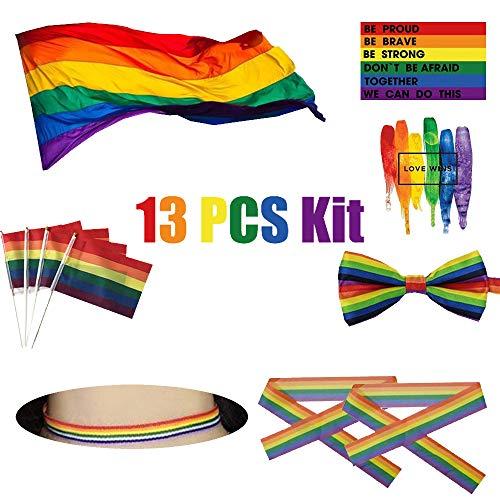 SOPHKO Grande Bandera de LGBT Polister Durabol Homosexual Orgullo del Arco Iris LGBT Cilíndricos Joyería Lesbianas La recomiendo para el Dia del Orgullo Bandera LGBT Arcoiris simbolo Gays, Lesbianas