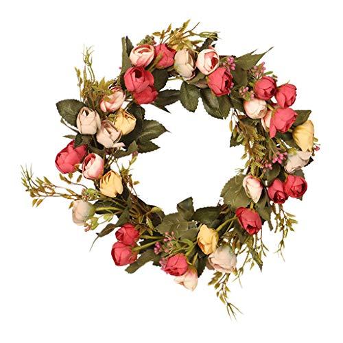Colcolo Coroa de Flores Artificiais de Rosa para Decoração de Casa em Folha de Folha de Janela de Porta Da Frente - Vermelho