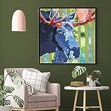 yhyxll Pintura sobre Lienzo Animales nórdicos Carteles e Impresiones Abstracto Pájaro Vaca Pintura al óleo Cuadros de Pared para Sala de Estar Decoración para el hogar Imagen C 40x40cm
