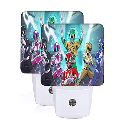 Pasdokzxc Power Rangers. Children's Boys and Girls Baby Lights Plug-in Night Light 2 Piece Set, Night Light Led Automatic Motion Sensor for Reading Bathroom, Bedroom, Kindergarten and Decoration