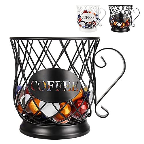 Coffee Pod Holder for K Cups, Coffee Capsule Holder, K Cup Holders for counter, Coffee Pod Storage Organizer, Kpod Container (Black)