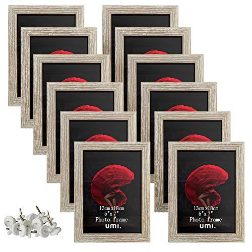 Amazon Brand - Umi Fotorahmen im Format 13 x 18cm Rustikale Bilderrahmen für die Wand oder zum Aufstellen, 12 Stück, grau