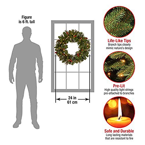 National Tree 24 Inch Crestwood Spruce Wreath with Silver Bristles, Cones, Red Berries and 50 Clear Lights (CW7-306-24W-1)