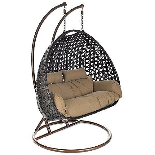 Home Deluxe – Polyrattan Hängesessel – Twin braun – inkl. Gestell, Sitz- und Rückenkissen | Hängestuhl Gartenschaukel Hängekorb - 2