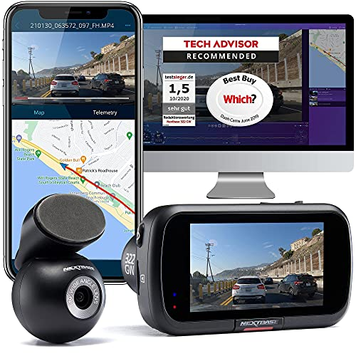 Nextbase 322GW Dash Cam Front and Rear Camera- Full 1080p/60fps HD In Car Camera- WiFi Bluetooth GPS- SOS Emergency Response, Intelligent Parking Mode, G-Sensor- 280° / 360 Dual 6 Lane Wide Recording