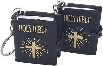 IMIKEYA 4 Pezzi Mini Portachiavi Bibbia Santa Portachiavi Religiosi in Miniatura Ges/ù Croce Portachiavi per Christia Comunione Favori Religiosi Chiesa Souvenir Regali