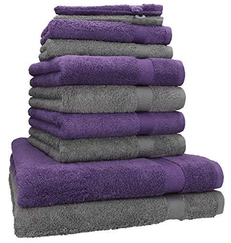 Betz Lot de 10 Serviettes Set de 2 Serviettes, draps de Bain 4 Serviettes de Toilette 2 Serviettes d'invité 2 Gants de Toilette 100% Coton Premium Couleur Gris Anthracite, Violet