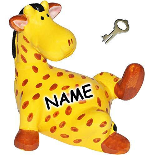 alles-meine.de GmbH XL - Spardose - Giraffe - 19 cm - inkl. Name - mit Schlüssel + Schloss - aus Porzellan / Keramik - stabile Sparbüchse Giraffen Zootiere / Tiere - Afrika - Kin..
