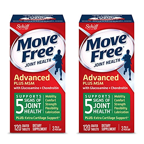 Move Free Advanced Plus MSM Coated Tablets, Joint Health Supplement with Glucosamine and...