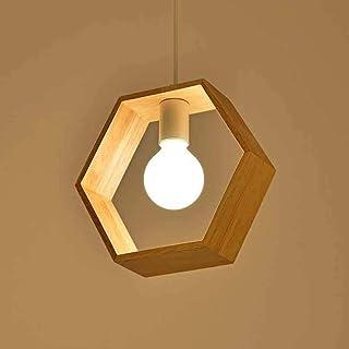 Moderno Lámpara Colgante E27 Retro Lámpara de Techo Luz Colgante LED Iluminación Colgante de Madera Hexágono Longitud 26CM, para Dormitorio Restaurante Coffee Bar
