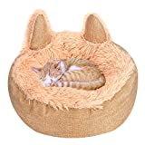 Queta Cama para mascotas para gatos y perros, redonda, de felpa suave, cama para perros, bonita cama para gatos en forma de orejas de gato (45 cm) (amarillo)