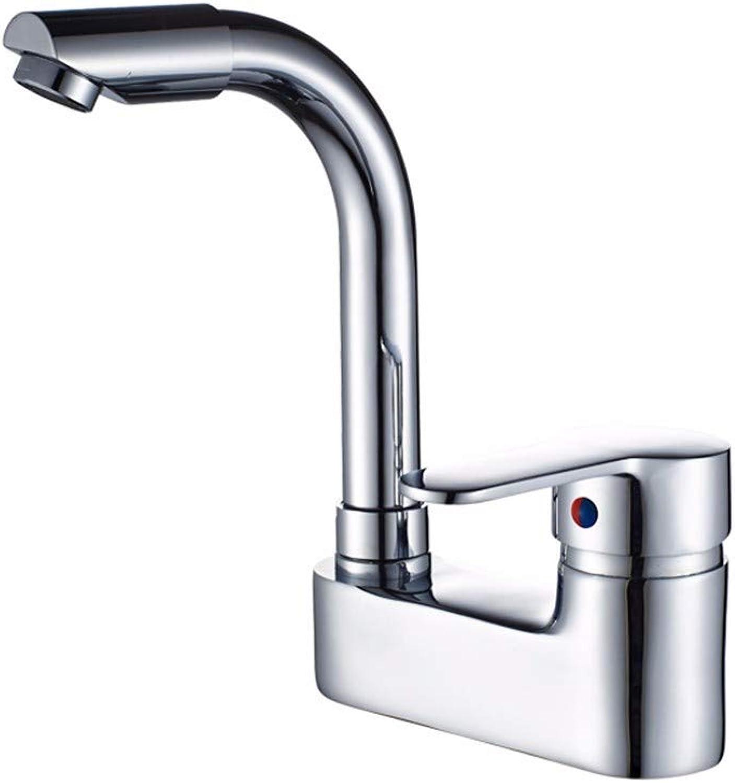 Pyty123-Faucet Warmes Und Kaltes Wasserhahn Kupfernes Doppeltes Lochbecken, Das Mischventil des Hahns des Badezimmerhahns Dreht