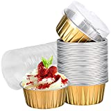 Dessert Cups with Lids, 25 Pack 5 oz Gold Aluminum Foil Baking Cups Holders, Cupcake Bake Utility Ramekin Clear Pudding Cups for Wedding, Christmas, Kitchen, Birthday Party, Various Holiday Parties